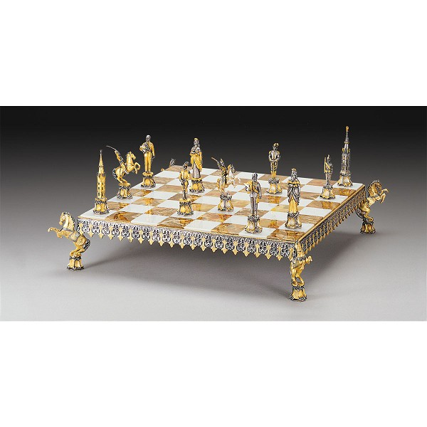 Asburgo Lorena Secolo XVIII Gold and Silver Themed Chess Board