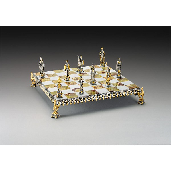 Contestazione Russa Gold and Silver Themed Chess Board
