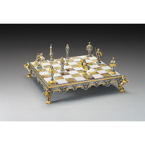 Medieval Themed Chess Board - Gold & Silver - Large