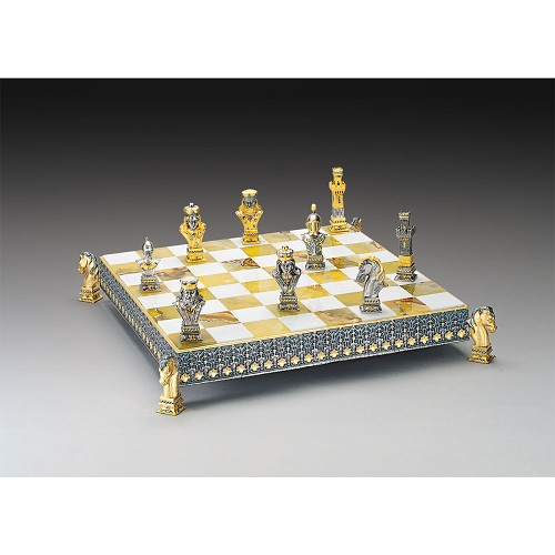 Poker Chess Set completely handmade in 24k gold and silver finished solid bronze.