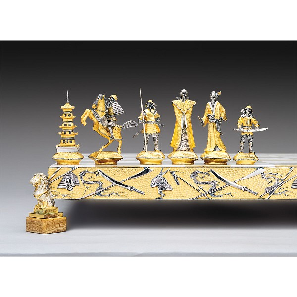 Samurai Gold and Silver Theme Chess Pieces