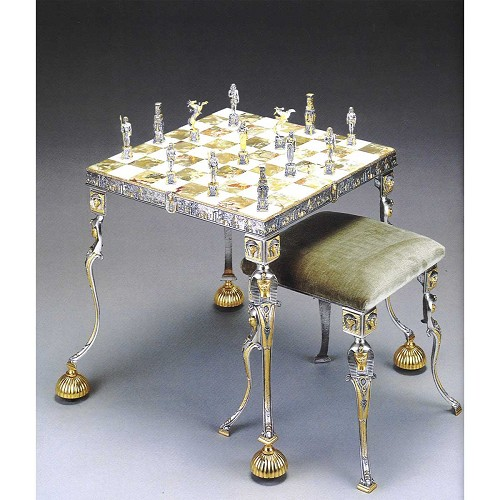Ancient Egyptian chess set with table and optional chairs. Handmade in lost wax cast bronze with 24kt gold and silver finish.