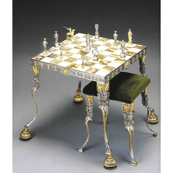 Sigfrido (Canto Dei Nibelunghi) Onyx Chess Table and Stool