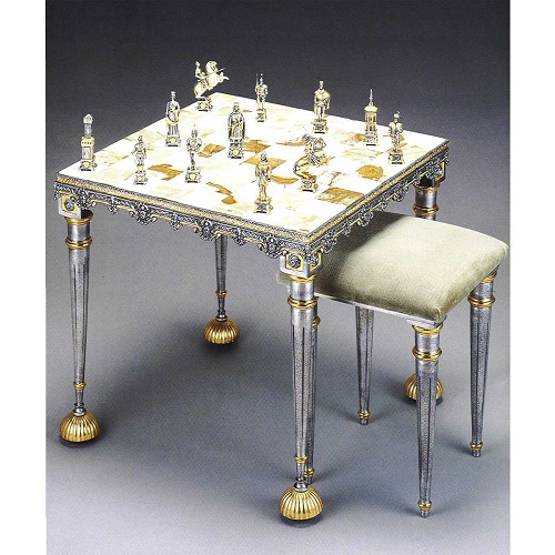The Sack of Rome (1527): Vatican Soldiers vs German Mercenaries chess set with round table and optional chairs. Handmade in lost wax cast bronze with 24kt gold and silver finish.