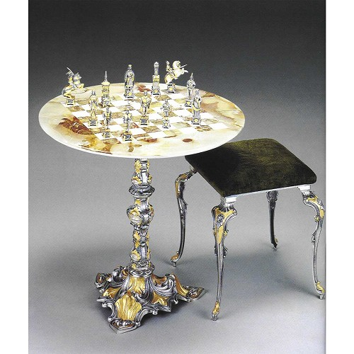 The Sack of Rome (1527): Vatican Soldiers vs Landsknechts chess set with round table and optional chairs. Handmade in lost wax cast bronze with 24kt gold and silver finish.