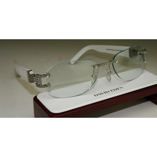 Idol Collection Frames in white ostrich. ( Included complimentary lens may be different than image).