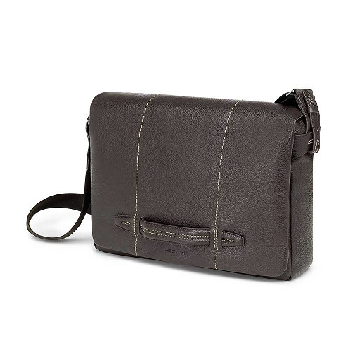 Fedon 1919 Venezia VE-MESSENGER-2 Leather Messenger Bag handmade in luxurious Dark Brown mill-grained cowhide. Available in Deep Brown, Taupe, and Marine Blue (shown).