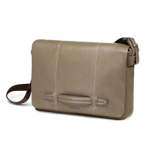 Fedon 1919 Venezia VE-MESSENGER-2 Leather Messenger Bag handmade in luxurious Taupe mill-grained cowhide.
