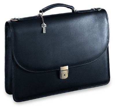Jack Georges Platinum Single Gusset Flap Leather Briefcase with Open Back Pocket
