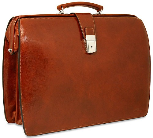 Jack Georges Sienna Classic Leather Briefbag is hand crafted from individually hand stained vegetable tanned Tuscan leather .
