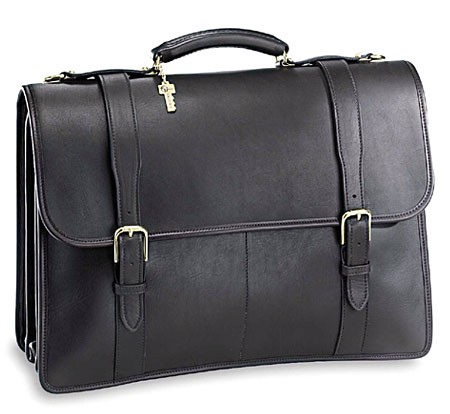 Jack Georges University Oversized Three Gusset Flap Leather Briefcase-Buckle Straps