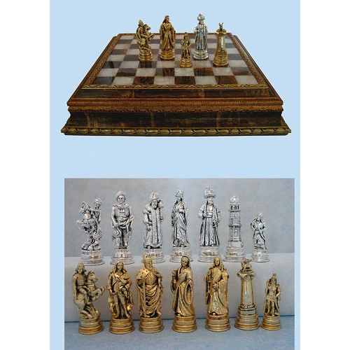 Luxury chess set depicts the forces of the Battle of Lepanto 1571.