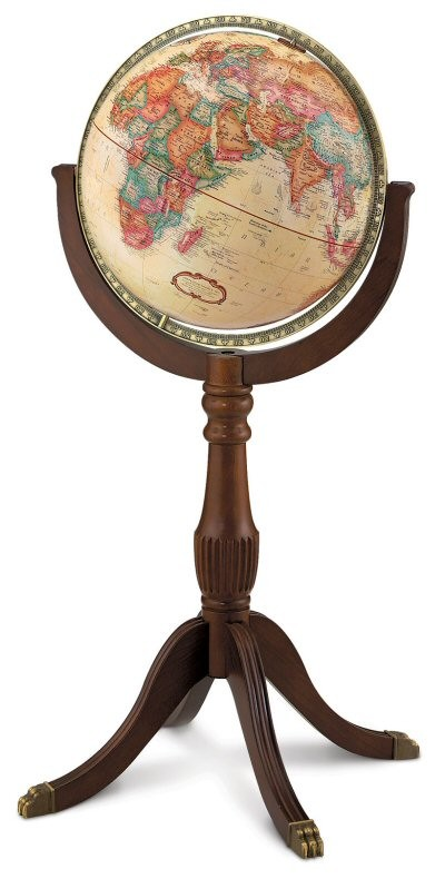 Sherbrooke II Floor Globe with antique ocean and wood stand.