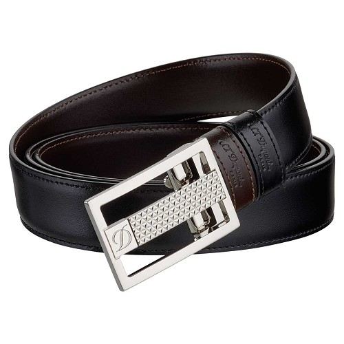 ST Dupont Fire Head Reversible Business Leather Belt - Palladium Tongue Buckle