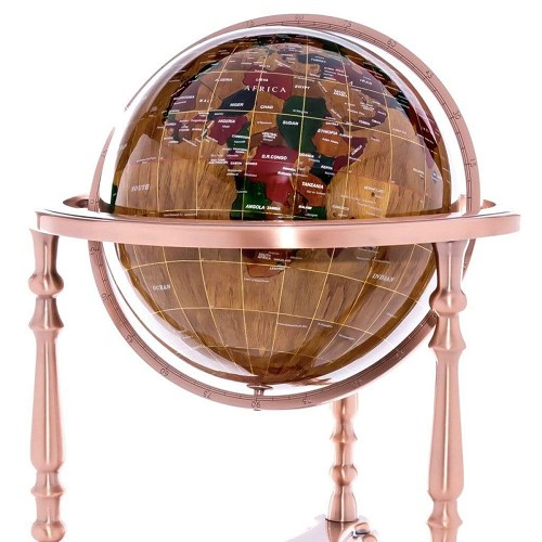 "37"" Tall Globe with Wood Ocean with 3-Leg Copper High Stand. Handcrafted:  Each of these handmade wood globes is unique."