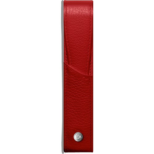 Leman Leather 1 Pen Case handmade in lush scarlet red grained luxury calfskin.