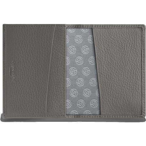 Leman Leather business card holder handmade in grey grained luxury calfskin.