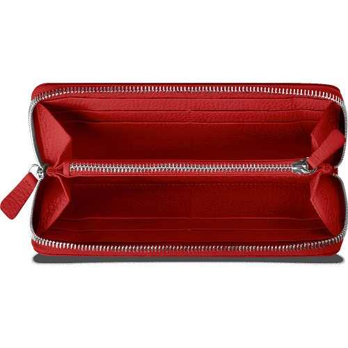 Leman Leather women's wallet handmade in scarlet red grained luxury calfskin.