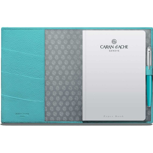 Leman Leather A5 notepad book handmade in turquoise blue grained luxury calfskin.