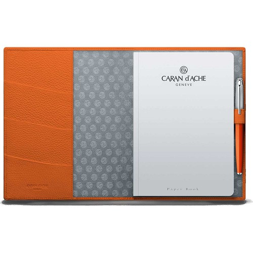 Leman Leather A5 notepad book handmade in saffron orange grained luxury calfskin.