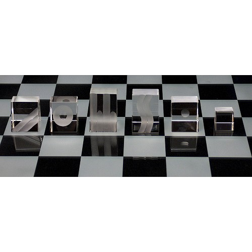 Inclined Crystal Chess Set - Limited Edition of 50. Black side is distinguished by the matte top.