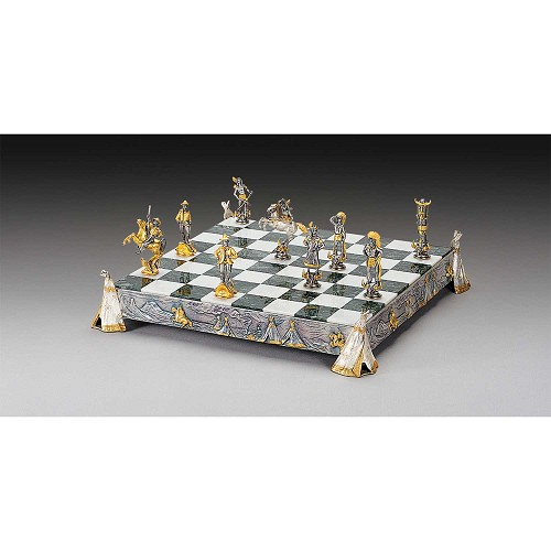 Indians vs. Cowboys Gold and Silver Themed Chess Set