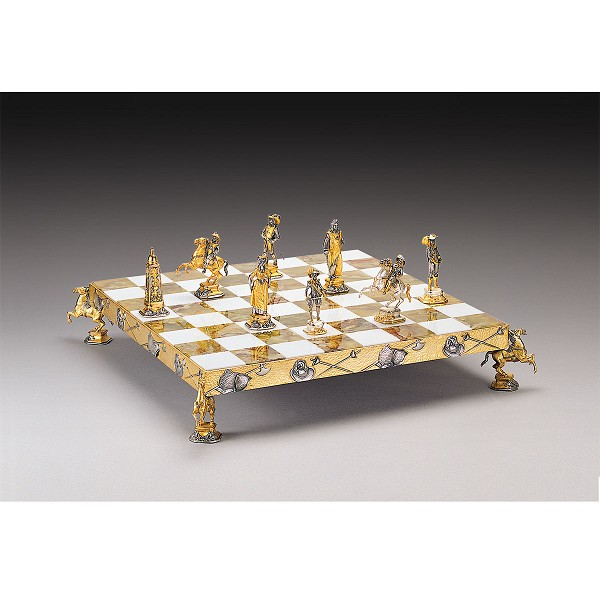 Luigi XIV Re Sole Secolo XVII Gold and Silver Themed Chess Set - V1