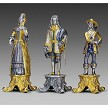 Louis XIV Sun King Chess Pieces: Handmade in 24kt gold and silver finished solid bronze using classic lost wax casting.