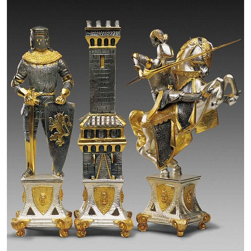 Carolingi XIV Chess Pieces: Handmade in 24kt gold and silver finished solid bronze using classic lost wax casting.