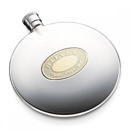 Dalvey Classic Flask - Gold Detail with precision engraved design.