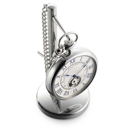 Dalvey Open-Face Pocket Watch & Stand with frontal view of movement.