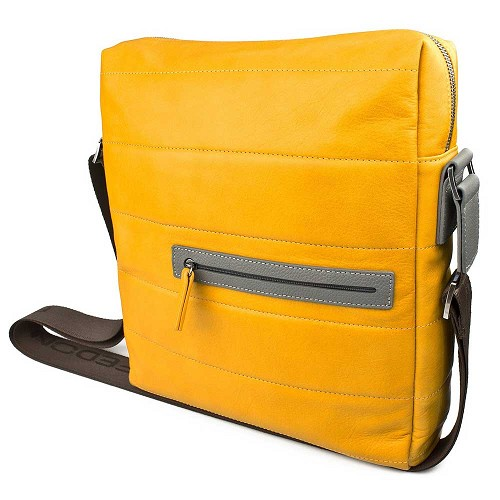 Fedon 1919 Award AW-Messenger-2 Yellow/Grey Leather Man Purse in Natural-grained calfskin with rubber coated details.
