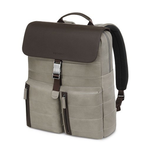 Fedon 1919 Award AW-BACKPACK Taupe/Brown Leather Bag in Natural-grained calfskin with rubber coated details.