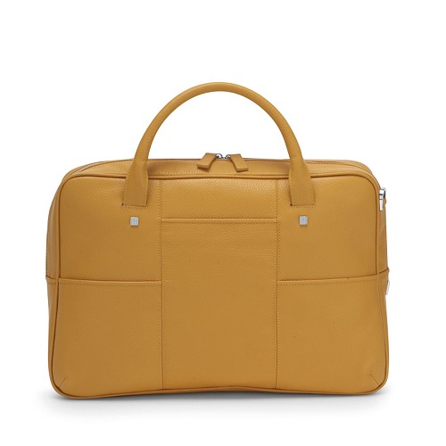 Fedon 1919 British BT-FILE Leather Laptop Bag in yellow calfskin.