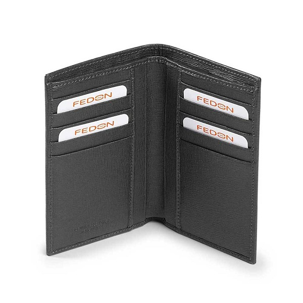 Fedon 1919 Orion OR-P-F-VERT Vertical Leather Wallet - Dark Grey