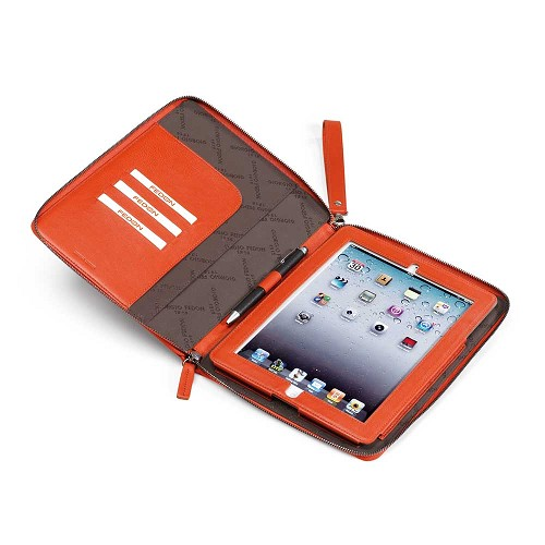 Fedon 1919 P-iPad Leather Folder Case crafted in smooth orange calfskin.