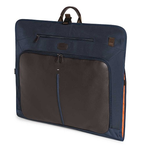 Fedon 1919 Travel WEB-GARMENT Suit Carrier/ Dress Bag  in Brown calfskin and Blue nylon. Also available in Grey/Black and Orange/Grey.