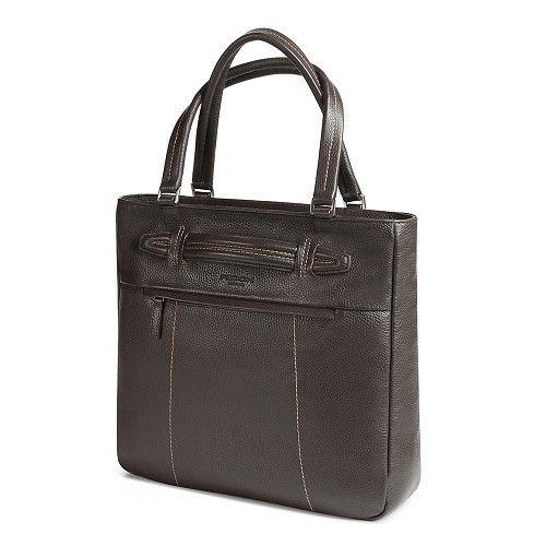 Fedon 1919 Venezia VE-SHOPPER-V Leather Tote Bag handmade in luxurious mill-grained cowhide. Available in Deep Brown (Shown), Taupe, and Marine Blue.