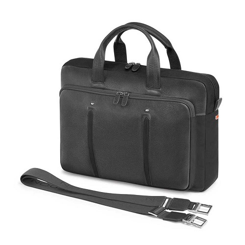 Fedon 1919 WEB-FILE-2 Leather Laptop Bag in Grey calfskin and Black nylon. Also available in Orange/Grey.