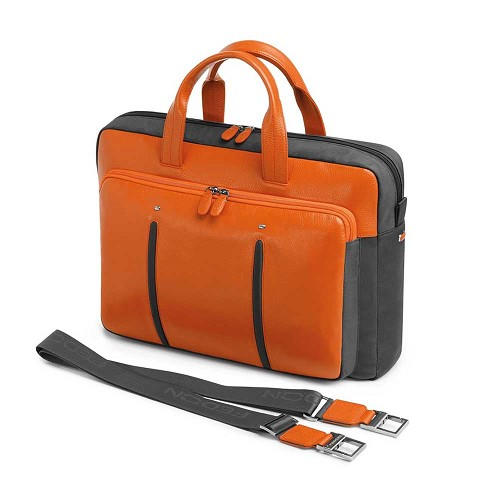 Fedon 1919 WEB-FILE-2 Leather Laptop Bag in Orange calfskin and Grey nylon. Also available in Grey/Black.