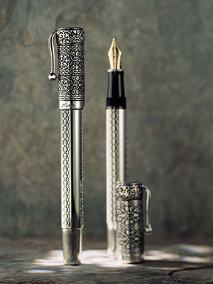 The exquisite Aura Engraved Sterling Silver Pens by Ferrari da Varese are decorated with Viennese engraving. Available in fountain pen and rollerball.