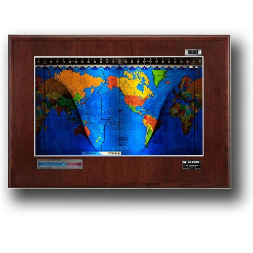 Geochron Boardroom Edition with Real Mahogany Wood Veneer Panel. Premium Geopolitcal Mapset.