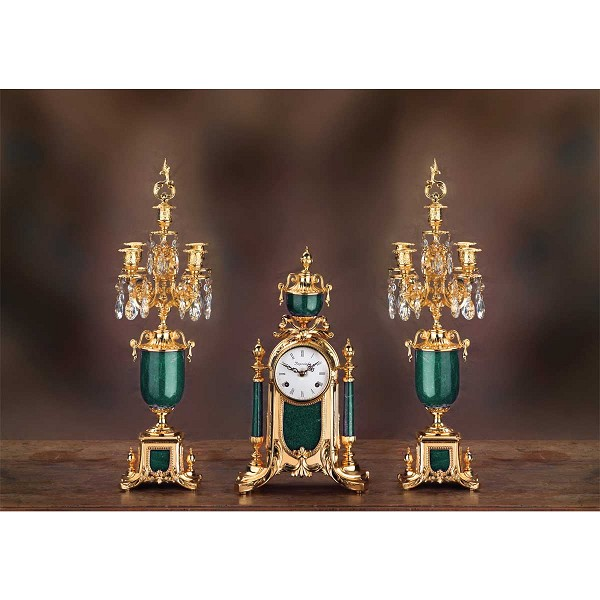 Imperial Empire Mantel Clock & Candelabras - Malachite