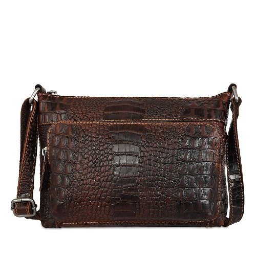Jack Georges Voyager Mini Crossbody Handbag in vegetable in hand stained brown croco embossed buffalo leather.