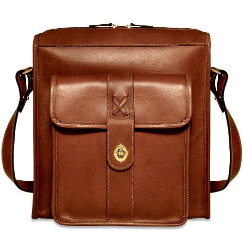 Belmont North-South Leather Messenger Bag is handmade from double-shoulder cuts of vegetable re-tanned American bullhide.