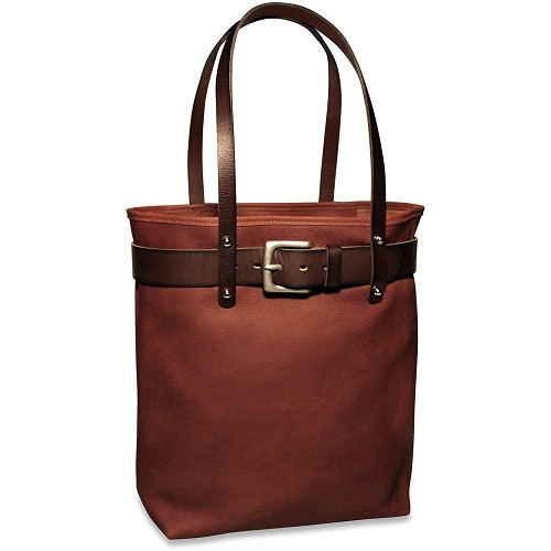 Belmont Leather Open Tote is handmade from double-shoulder cuts of vegetable re-tanned American bullhide.