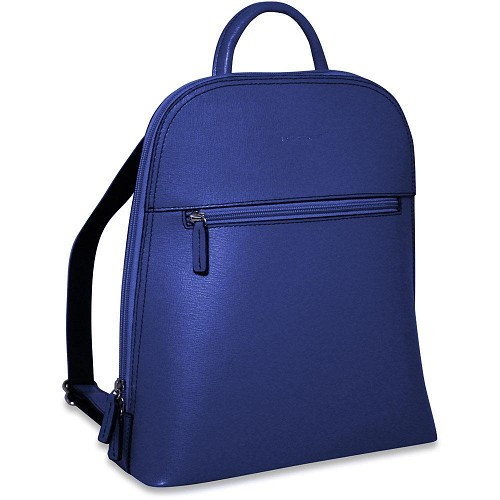 Chelsea small backpack handmade in beautiful scratch resistan Cobalt saffiano leather.
