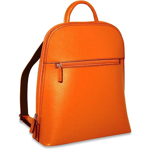 Chelsea small backpack handmade in beautiful scratch resistan Orange saffiano leather.