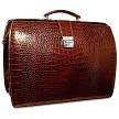 Jack Georges Croco Collection Classic Briefbag in brown embossed Italian leather.