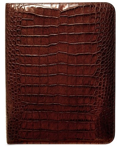 Jack Georges Croco Letter Size Leather Writing Pad is handmade in Tuscan leather.